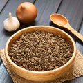 Raw soy meat textured vegetable or protein called also in wooden bowl with onion garlic and spoon in the back photographed on Stock Photos