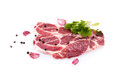 Raw Steaks Of Pork Neck Over White Stock Photos
