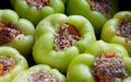 Raw stuffed peppers Stock Images