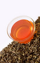 Raw tea and a cup of tea Royalty Free Stock Images