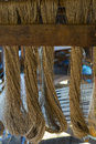 Raw thread dried lotus before weaving in the tiny factory on inle lake in myanmar burma Stock Photo