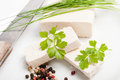 Raw tofu slices with parsley and chives Royalty Free Stock Photo
