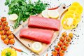 Raw tuna fish fillet meat Royalty Free Stock Photo