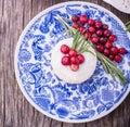 Raw vegan berry cheesecake gluten-free on a white Royalty Free Stock Photo