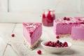 Raw vegan berry cheesecake gluten free. Wooden background Royalty Free Stock Photo