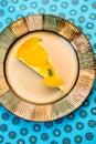 Raw vegan lemon tart with fresh persimmon Stock Images