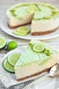 Raw vegan lime cheesecake Stock Photo