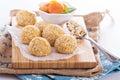 Raw vegan oat apricot banana balls Royalty Free Stock Photo
