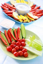 Raw vegetable and fruits with dip Royalty Free Stock Image