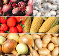 Raw vegetables and fruit montage Royalty Free Stock Photo