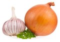 Raw vegetables garlic bulb with onion and fresh parsley on white background cutout Royalty Free Stock Images