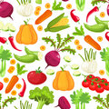 Raw vegetables with sliced pepper eggplant garlic mushroom courgette tomato onion cucumber vector illustration.Seamless