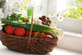 Raw vegetables in wicker basket variety of on white Royalty Free Stock Photography