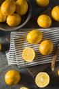 Raw Yellow Organic Meyer Lemons Royalty Free Stock Photo