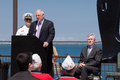 Ray Mabus and Pat Quinn at USS Illinois Ceremony Royalty Free Stock Images
