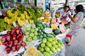 Rayong sattahip thailand market women selling fruits on street at Stock Image