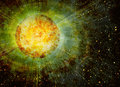 Rays beam of planet on space stars backgrounds Royalty Free Stock Photo