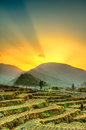 Rays behind the hill sun spreading a in daman nepal Stock Image