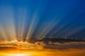 Rays of light over blue sky Royalty Free Stock Photography