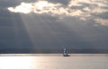 Rays of sun on a lone sailboat in the race puget sound Royalty Free Stock Image