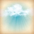 Rays of sunlight breaking through the clouds vintage sky old paper vector background with white clouds subtle grunge texture sun Stock Photo