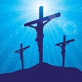 Rays three crosses at night Royalty Free Stock Photography