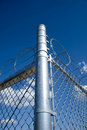 Razor and Barb Wire on top of Chain Link fence Royalty Free Stock Photography