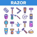stock image of  Razor, Shaving Accessories Vector Linear Icons Set