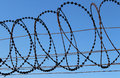 Razor wire barbed fence with Royalty Free Stock Photos