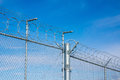 Razor wire fence with against blue sky Royalty Free Stock Photos