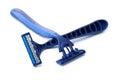 Razors close up of blue on white background Royalty Free Stock Images