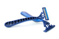 Razors close up of blue on white background Stock Image