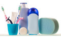 Razors and lotion with deodorant over white background Royalty Free Stock Photography
