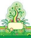 �rbol verde y una bandera floral Imagen de archivo