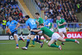 Rbs nations italy ireland rugby round rome it stadio olimpico february vs score s andrea masi is tackled by jordi murphy Stock Photography