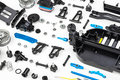 Rc car assembly kit on white background Royalty Free Stock Photography