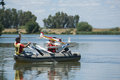 Rc hydroplane rescue patrol badajoz spain june unidentified people collecting broken down hydroplanes during an exhibition show on Royalty Free Stock Photography