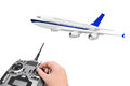 RC plane and radio remote control Royalty Free Stock Photo