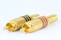 Rca jacks golden plated on white Stock Photos