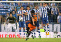 Rcd espanyol players on the wall of the free kick launched by tino costa valencia cf during a spanish league match at Royalty Free Stock Photo