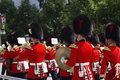 RCMP officers in uniform marching band Royalty Free Stock Photo