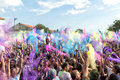 Rd colors day event in thessaloniki greece september participants at the a recreation of the famous holi festival Royalty Free Stock Photos