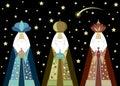 Three wise men Christmas. Three biblical Kings, Caspar, Melchior and Balthazar. Bethlehem Nativity concept, Happy Epiphany Royalty Free Stock Photo