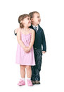 We re growing fast children play a married couple on a white background Stock Photography