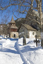 åre medieval church wintertime and belltower jamtland swedish jämtland county sweden Stock Image