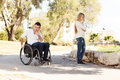 We re not together young disabled men and his girlfriend quarreled Stock Photo