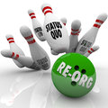 Re-Org Words Bowling Ball Striking Status Quo Organization Pins Royalty Free Stock Photo