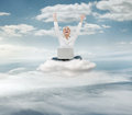 Reach the sky young succesful businesswoman with laptop sitting on cloud Royalty Free Stock Images