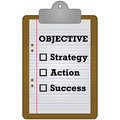 Reaching an objective concept illustration showing a clipboard with a checklist of items needed to reach Royalty Free Stock Photos