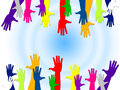 Reaching Out Represents Hands Together And Buddies Royalty Free Stock Photo